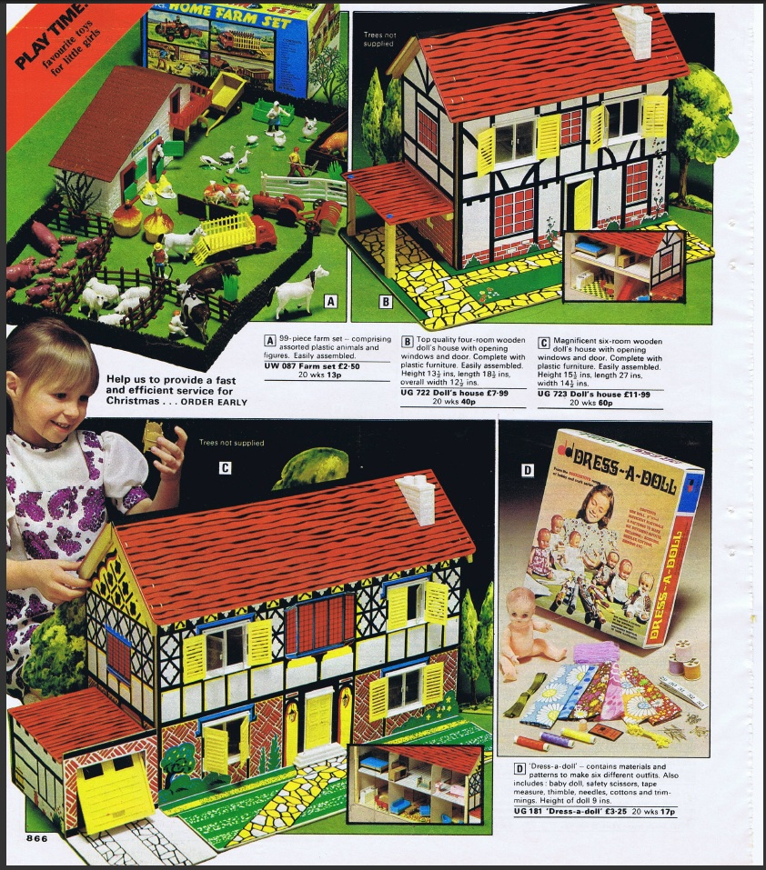 the littlewoods mail order catalogue for shows two toy works dolls houses one familiar and one not they are not named as toy works but the upper one