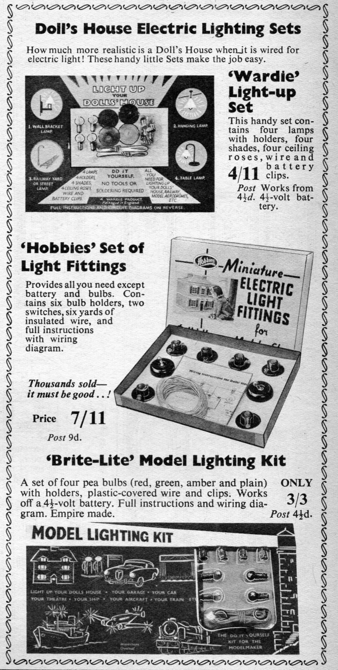 Hobbies Of Dereham Dolls House Furniture And Fittings 1946 1968 By Wiring Kit Lighting Sets In The 1964 Annual Available Until