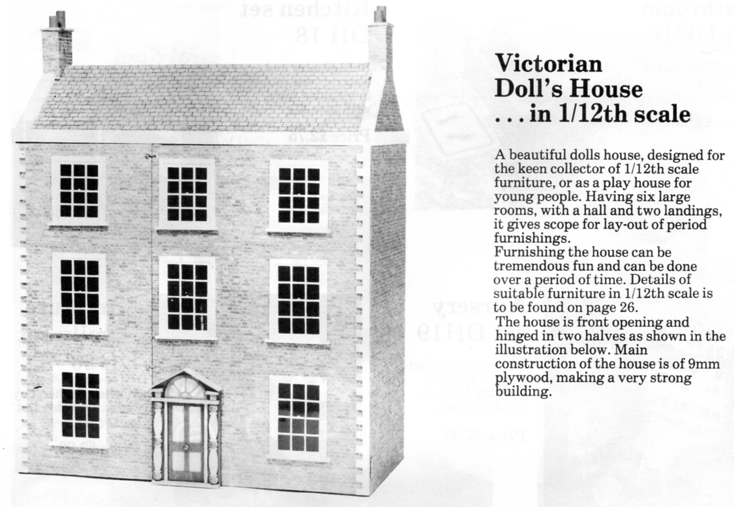 Hobbies victorian model doll s house plans 12th scale for Victorian style kit homes